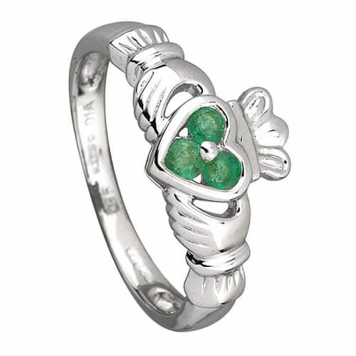Three Emeralds Claddagh Ring - White Gold