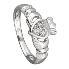 Three Diamonds Claddagh Ring - White Gold