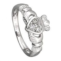 Claddagh-Ring mit drei Diamanten - Weißgold