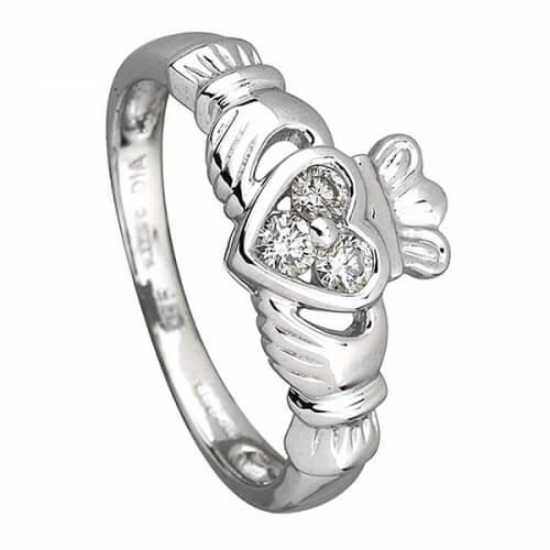 Three Diamonds Claddagh Ring - White Gold
