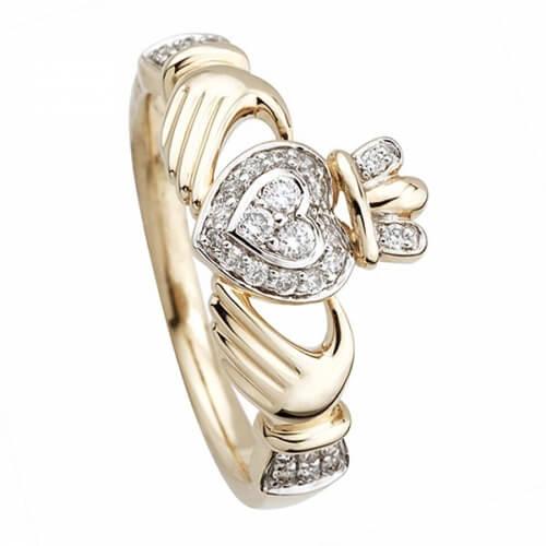 Bague de fiançailles en diamant Claddagh - Or