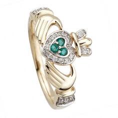 Bague Claddagh en or avec diamants et émeraudes