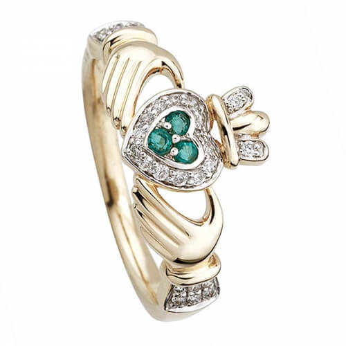 Gold Diamond & Emerald Claddagh Ring