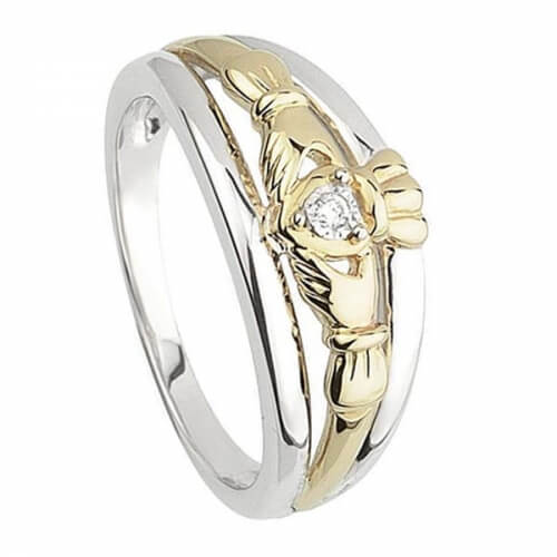 Silver & Gold Diamond Claddagh Ring