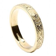 Womens Narrow Irish Wedding Ring - Gold