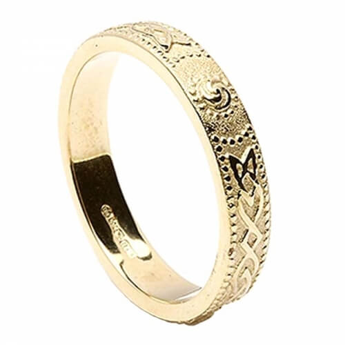 Womens Narrow Irish Wedding Ring - Gold