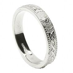 Womens Narrow Irish Wedding Ring - Silver