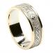 Womens Narrow Irish Ring with Trim - White with Yellow Trim