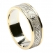 Damen Schmale irische Ring mit Trim - Weiß mit gelber Leiste