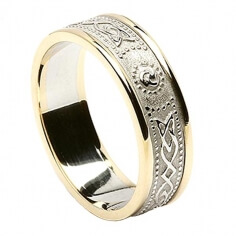 Womens Narrow Irish Ring with Trim - White with Yellow Trim