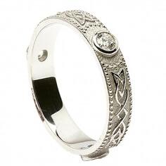 Damen keltische Diamant Ehering - Weißes Gold