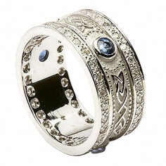 Sapphire Shield Ring with Diamond Trim