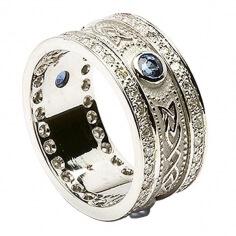Sapphire Shield Ring with Diamond Trim