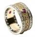 Ruby Shield Ring with Diamond Trim
