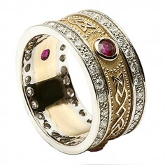 Ruby Shield Ring with Diamond Trim