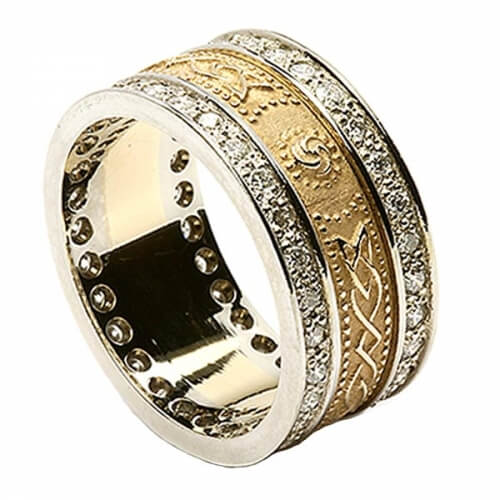Celtic Shield Ring with Diamond Trim