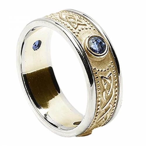 Celtic Shield Ring with Sapphires - Yellow with White Trim