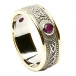 Celtic Shield Ring with Ruby - With Yellow Trim