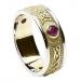 Keltisches Schild Ring mit Rubin - Mit weißem Rand