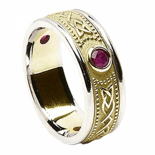 Celtic Shield Ring with Ruby - With White Trim