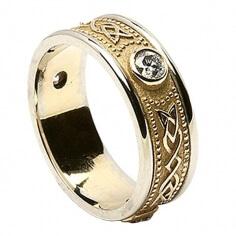 Bague à diamants celtiques avec bordure - Avec garniture blanche