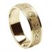 Herren Schmale irische Ring mit Trim - Alles gelbes Gold