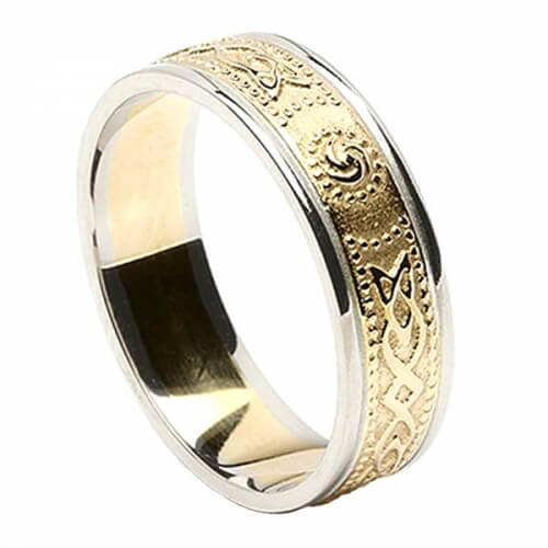 Womens Narrow Irish Ring with Trim - Yellow with White Trim