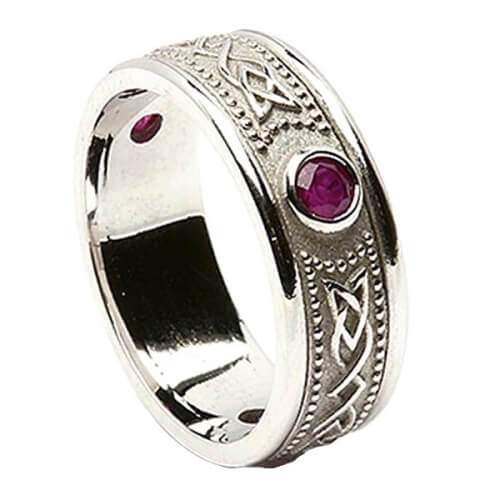 Celtic Shield Ring with Ruby - All White Gold