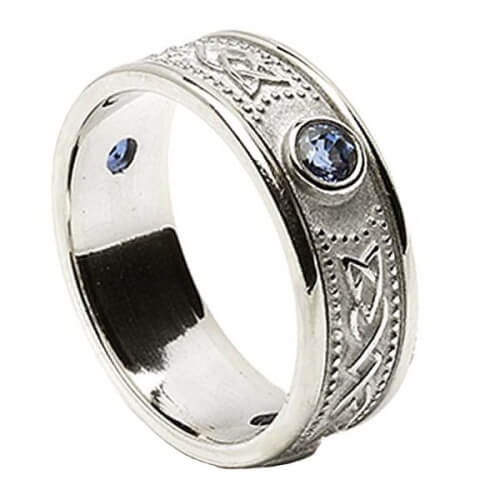 Celtic Shield Ring with Sapphires - All White Gold
