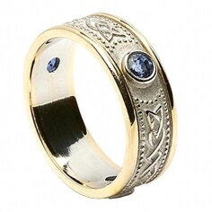 Celtic Shield Ring with Sapphires - White with Yellow Trim