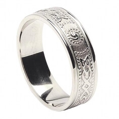 Womens Narrow Irish Ring with Trim - All White Gold
