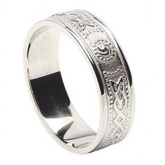 Damn Schmale irische Ring mit Trim - Alles weißes Gold