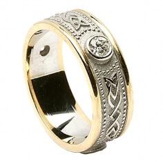 Keltischer Diamantring mit Besatz - Mit gelber Zierleiste