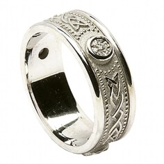 Celtic Diamond Ring with Trim - All White Gold