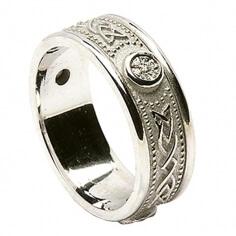 Bague à diamants celtiques avec bordure - Tout or blanc