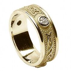 Bague à diamants celtiques avec bordure - Tout Or