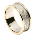Women's Irish Wedding Ring with Trim - White with Yellow Trim