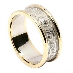 Women's Irish Wedding Ring with Trim - White with Yellow Trim