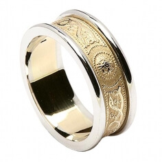 Women's Irish Wedding Ring with Trim - Yellow with White Trim