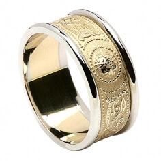 Bague de mariage irlandaise pour homme avec garniture - Jaune avec bordure blanche