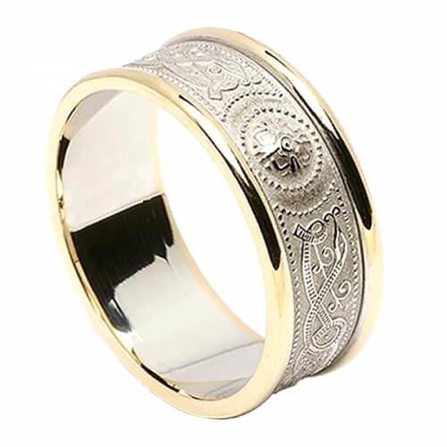 Bague de mariage irlandaise pour homme avec garniture - Blanc avec bordure dorée