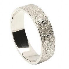 Men's Celtic Shield Ring - White Gold