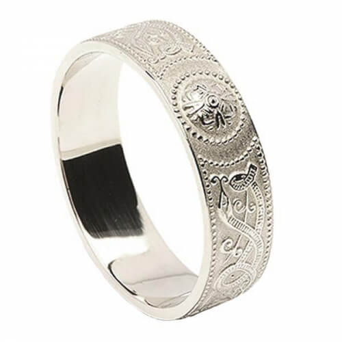 Men's Celtic Shield Ring - White Gold