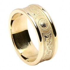 Women's Irish Wedding Ring with Trim - All Yellow Gold