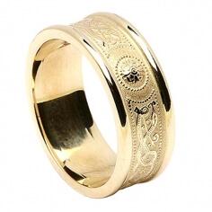 Alliance irlandaise pour femme avec bordure - Tout l'or jaune