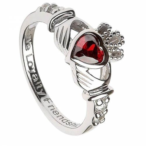 Januar Geburtsstein Claddagh Ring - Silber