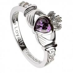 Februar Geburtsstein Claddagh Ring - Silber