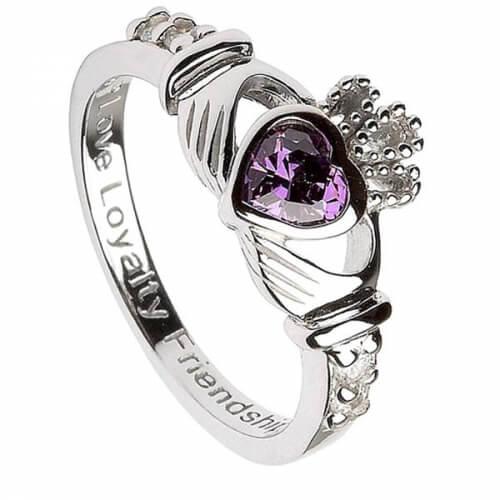 February Birthstone Claddagh Ring - Silver