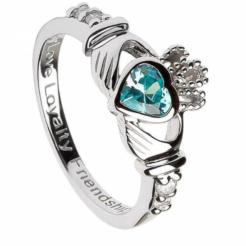 März Geburtsstein Claddagh Ring - Silber