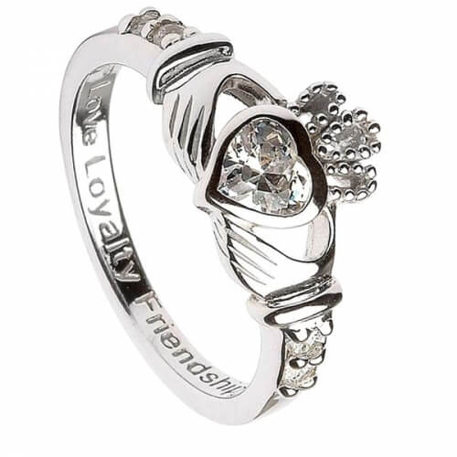 April Geburtsstein Claddagh Ring - Silber